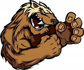 Graphic Vector Image Of A Wolverine Or Badger Mascot With Fighting Hands