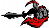 stock photo of spartan  - Trojan or Spartan Vector Mascot Silhouette with Sword - JPG