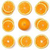 Seamless pattern of orange fruit slices. Orange slices isolated on white background. Food background poster