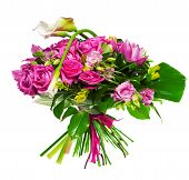 bouquet of calla lilias and roses