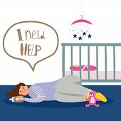 Postpartum Or Postnatal Depression. Vector Tired Woman And Newborn Illustration poster