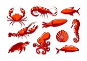 Set Of Sea Creatures Icons. Crab, Shrimp, Tuna, Squid, Lobster, Octopus, Shell, Turtle, Seahorse Col poster