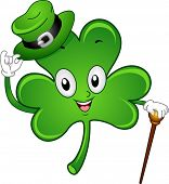 Illustration of a Gentlemanly Shamrock Mascot