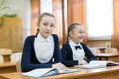 Children Write While Sitting At The School Desk. Schoolgirl Girls Write In A Notebook While Sitting  poster