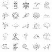 Environ Icons Set. Outline Set Of 25 Environ Icons For Web Isolated On White Background poster