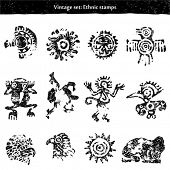 Doodle set: ethnic stamps