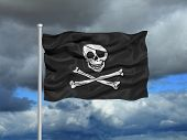 stock photo of pirate flag  - illustration of pirate skull and crossbones on flag - JPG