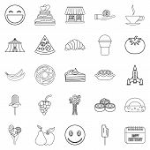 Confectionery Icons Set. Outline Set Of 25 Confectionery Icons For Web Isolated On White Background poster
