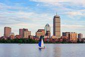 image of prudential center  - Boston city skyline with Prudential Tower and urban skyscrapers over Charles River with boat - JPG