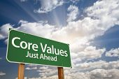 picture of scruple  - Core Values Just Ahead Green Road Sign with Dramatic Clouds - JPG