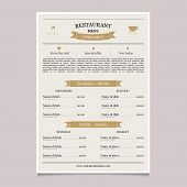 Restaurant Menu In Vintage Style. Coffee Restaurant Menu. Cooking Design Poster. Brochure Template F poster