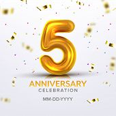 Fifth Anniversary Birth Celebration Number Vector. Festive Banner With Realistic Golden Number Five  poster