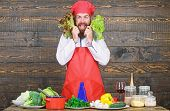 Healthy Raw Food. Dieting Concept. Man Wear Hat And Apron Hold Salad. Healthy Nutrition. Bearded Hip poster