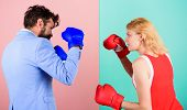 Man Formal Suit And Athletic Woman Boxing Fight. Couple In Love Competing In Boxing. Female And Male poster