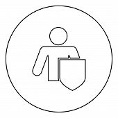 Stick Man With Shield Protecting Personal Data Concept Man Holding Shield For Reflecting Attack Prot poster