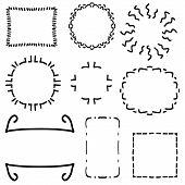 Cartoon Frames Set - Vintage Frames Vector Clipart Bundle. Set Of Frames On White Background Made In poster