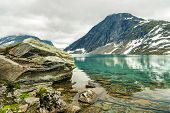 Lake Djupvatnet Near The Mountain Dalsnibba And The Geirangerfjord In Norway. Travel To Norway. Pano poster