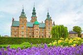 Lavender Flowerbed In Gardens Of Rosenborg Castle In Copenhagen, Denmark. Garden And Rosenborg Palac poster