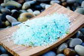 Spa body care, sea salt in wooden dish