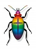 Colorful Beetle With Cross. Symbol For Decline In Insect Populations And For Extinction Of Species.  poster
