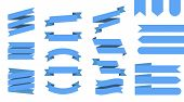Flat Vector Ribbons Banners Isolated Background. Ribbon Blue Colored. Set Ribbons Or Banners. Vector poster