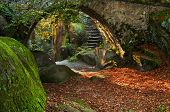 foto of underpass  - View of a beautiful autumn scene with an old bridge - JPG