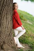 Peaceful Mood. Good Vibes Only. Girl Little Cute Child Enjoy Peace And Tranquility At Tree Trunk. Pl poster