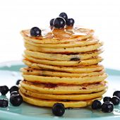 Blueberry pancakes with fresh blueberries