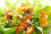 Mezcla de ensalada fresca con caquis, mandarina naranja y avellanas