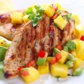 picture of chicken  - Grilled chicken breast with fresh mango salsa - JPG