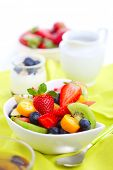 Breakfast- fresh salad with fruits and berries, tea and yogurt