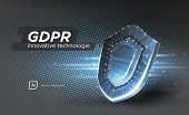 Privacy Data Protection Law Gdpr. Data Regulation Sensitive Information Safety Shield European Union poster