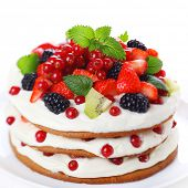 Cake with fresh berry isolated on white background