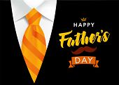 Happy Fathers Day Greeting Card. Banner Concept With Striped Orange Necktie And Men Suit On Backgrou poster