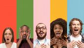 Young Attractive People Looking Astonished On Multicolored Backgrounds. Young Emotional Surprised Me poster