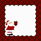stock photo of nic  - Christmas Plaid Background with Santa for your message or invitation with copy - JPG