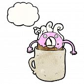 doughnut cartoon character in coffee