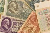 Old Soviet Paper Money With Lenin Portrets