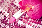 Pink Lipstick On Glitters With Orchid