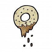 cartoon doughnut dunked in coffee