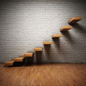 image of step-ladder  - Abstract stairs on brick wall in interior - JPG