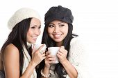 Asian Women Drinking Coffee