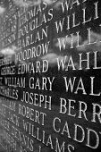 stock photo of iwo  - A closeup of engraved names on the Iwo Jima war memorial - JPG