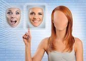 faceless woman choosing happy face