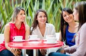 stock photo of girlie  - Group of women talking over a cup of coffee - JPG