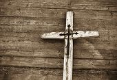 picture of christian cross  - Old wooden cross against wooden background - JPG