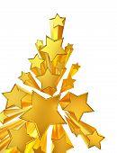 moving golden stars on white background