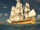 picture of sail ship  - 3D render depicting a tall ship at sea on a sunny day - JPG