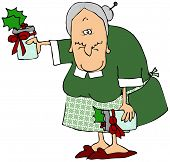 pic of old lady  - This illustration depicts an old woman holding bottles of holiday jam - JPG