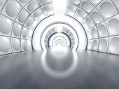 Futuristic tunnel like spaceship corridor with glowing lights